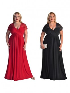 A-Line/Princess Short Sleeves V-neck Floor-Length Lace Chiffon Plus Size Dresses