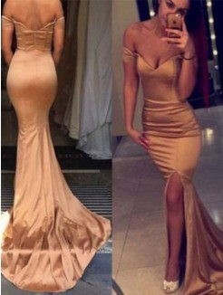 Trumpet/Mermaid Off-the-Shoulder Sleeveless Court Train Satin Dresses