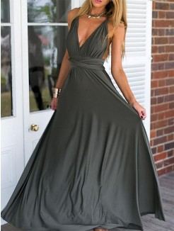 Empire Sleeveless Floor-Length V-neck Ruffles Chiffon Dresses