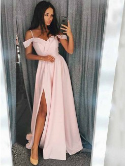 A-Line/Princess Sleeveless Off-the-Shoulder Sweep/Brush Train Satin Dresses