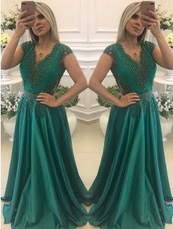 A-Line/Princess Short Sleeves V-neck Floor-Length Beading Silk like Satin Dresses