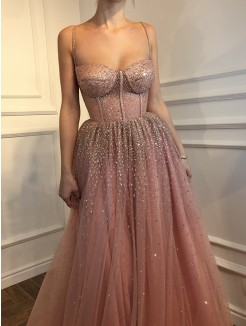 A-Line/Princess Floor-Length Sleeveless Spaghetti Straps Tulle Dresses