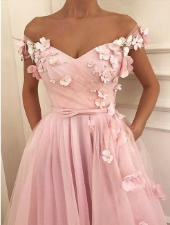 A-Line/Princess Floor-Length Off-the-Shoulder Sleeveless Applique Tulle Dresses