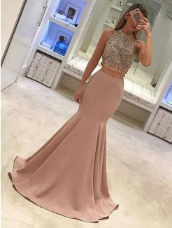 Trumpet/Mermaid Sweep/Brush Train Sleeveless High Neck Satin Two Piece Dresses