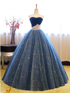 Ball Gown Floor-Length Sleeveless Sweetheart Beading Net Dresses