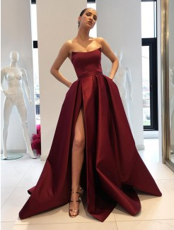 Ball Gown Sleeveless Strapless Sweep/Brush Train Ruffles Satin Dresses