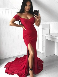 Trumpet/Mermaid Off-the-Shoulder Court Train Sleeveless Elastic Woven Satin Dresses