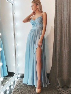 A-Line/Princess Sleeveless Spaghetti Straps Floor-Length Lace Chiffon Dresses