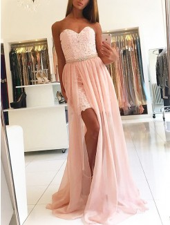 A-Line/Princess Sleeveless Sweetheart Sweep/Brush Train Lace Tulle Dresses