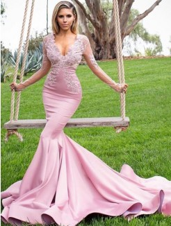 Trumpet/Mermaid V-neck Long Sleeves Sweep/Brush Train Applique Satin Dresses