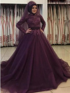 Ball Gown Long Sleeves High Neck Sweep/Brush Train Applique Tulle Muslim Dresses