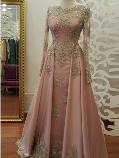 A-Line/Princess Long Sleeves Floor-Length Scoop Applique Tulle Muslim Dresses
