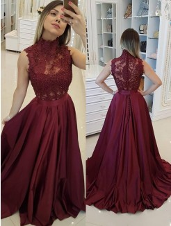 A-Line/Princess Sleeveless High Neck Sweep/Brush Train Applique Satin Dresses