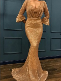 Trumpet/Mermaid 3/4 Sleeves Sequins V-neck Sweep/Brush Train Ruffles Dresses