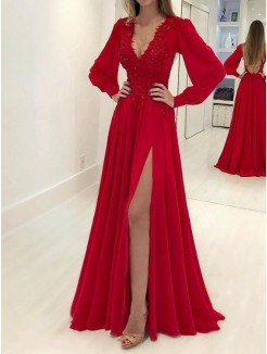 A-Line/Princess Long Sleeves Sweep/Brush Train Applique V-neck Chiffon Dresses