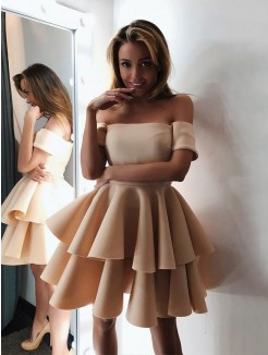 A-Line/Princess Satin Layers Off-the-Shoulder Sleeveless Short/Mini Dresses