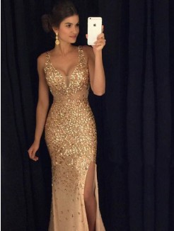 Sheath V-neck Sequin Court Train Sleeveless Jersey Dresses