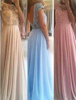 A-Line Sleeveless Scoop Floor-Length Beading Chiffon Gown