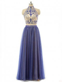 A-Line Sleeveless High Neck Chiffon Beading Floor-Length Two Piece Dresses
