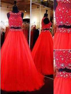 A-Line Scoop Sleeveless Floor-Length Beading Tulle Two Piece Dresses