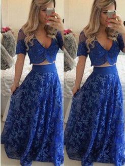 A-Line V-neck Short Sleeves Floor-Length Lace Two Piece Dresses