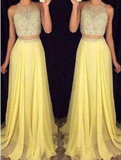 A-Line Scoop Sleeveless Floor-Length Beading Chiffon Two Piece Dresses