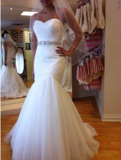 Trumpet Sleeveless Sweetheart Floor-Length Beading Tulle Wedding Dress