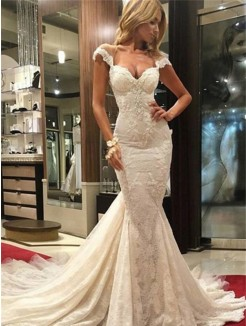 Trumpet Sleeveless Sweep/Brush Train V-neck Lace Bridal Dress