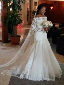 Trumpet Off-the-Shoulder Long Sleeves Lace Floor-Length Tulle Bridal Dress