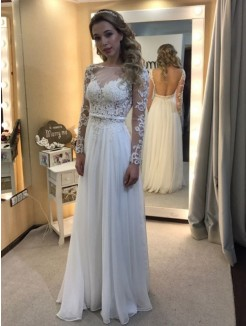 Princess Bateau Floor-Length Long Sleeves Lace Chiffon Wedding Dress