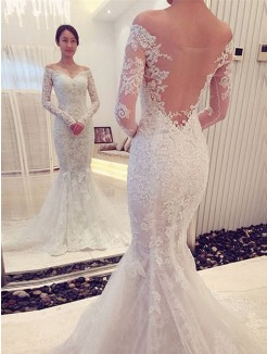 Trumpet Off-the-Shoulder Long Sleeves Lace Sweep/Brush Train Bridal Gowns