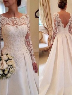 Ball Gown Scoop Long Sleeves Lace Court Train Satin Wedding Dress