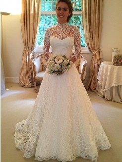 Ball Gown High Neck Long Sleeves Lace Court Train Wedding Gown