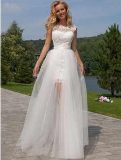Column Sleeveless Lace Scoop Floor-Length Tulle Wedding Dresses