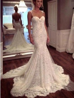Trumpet Sleeveless Court Train Spaghetti Straps Lace Bridal Gowns