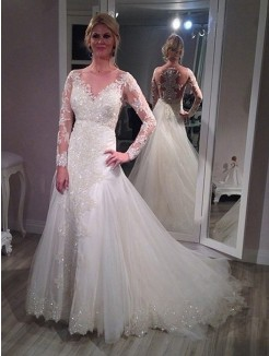 Princess V-neck Sweep/Brush Train Long Sleeves Sequin Tulle Wedding Dress