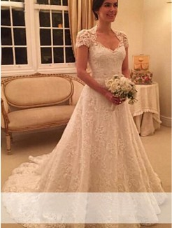 Princess Sweetheart Court Train Short Sleeves Lace Wedding Dress