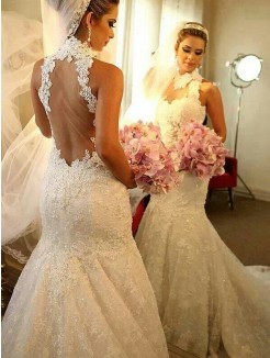 Trumpet High Neck Sleeveless Lace Court Train Wedding Dress