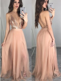 A-Line/Princess Sleeveless Spaghetti Straps Chiffon Floor-Length Sequin Dresses