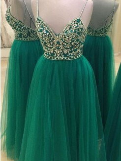 A-Line/Princess Sleeveless Spaghetti Straps Tulle Floor-Length Beading Dresses