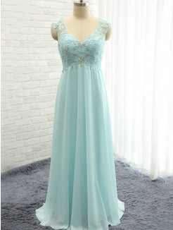 A-Line Sleeveless Sweetheart Floor-Length Beading Chiffon Bridesmaid Dress