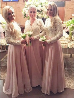 A-Line Long Sleeves V-neck Floor-Length Lace Chiffon Bridesmaid Dress