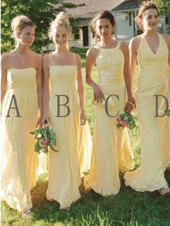 A-Line Sleeveless Floor-Length Chiffon Bridesmaid Dress