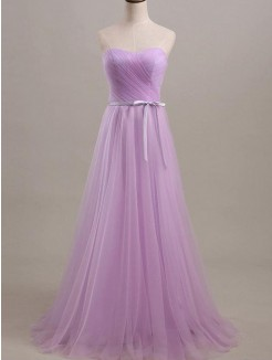 A-Line Sleeveless Sweetheart Floor-Length Sash/Ribbon/Belt Tulle Bridesmaid Dress