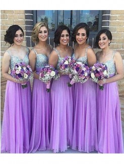 A-Line Sleeveless Sweetheart Floor-Length Sequin Chiffon Bridesmaid Dress
