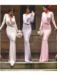 Sheath/Column V-neck Floor-Length Sleeveless Jersey Bridesmaid Dress