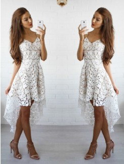 A-Line Sleeveless Spaghetti Straps Lace Short/Mini Cocktail Dresses