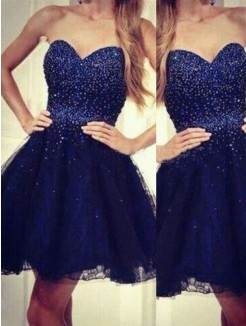A-Line Sweetheart Sleeveless Beading Short/Mini Tulle Dresses