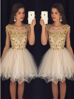 A-Line Sleeveless Scoop Paillette Tulle Short/Mini Homecoming Dresses