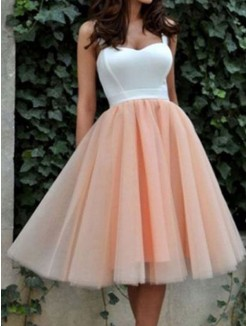 A-Line Sleeveless Sweetheart Tulle Knee-Length Homecoming Dresses